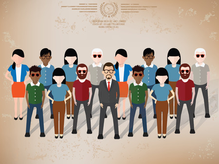 frendship: Teamwork character design on old paper background,grunge vector