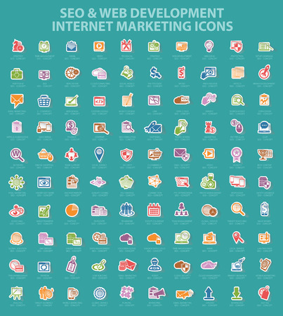 SEO Internet marketing icons,sticker paper icons, vector