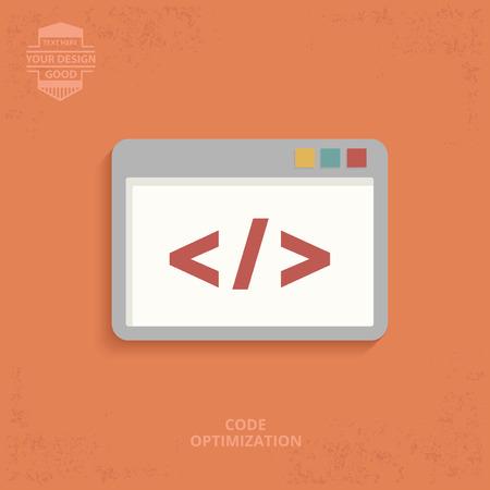 java script: Coding design on orange background,clean vector