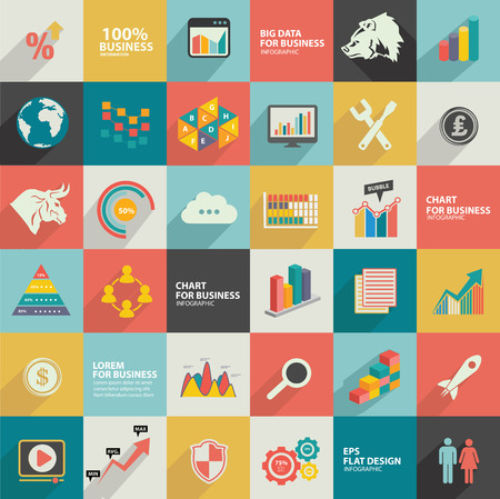 Data analysis, Business stock, analysis and financial flat icons Vector