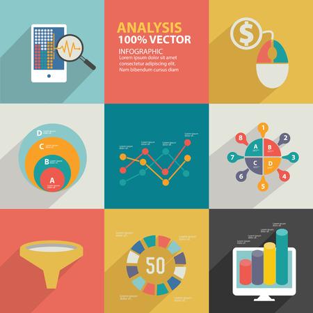 Data analysis icons design Vector