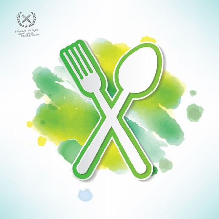 Spoon fork design in water colour Vector