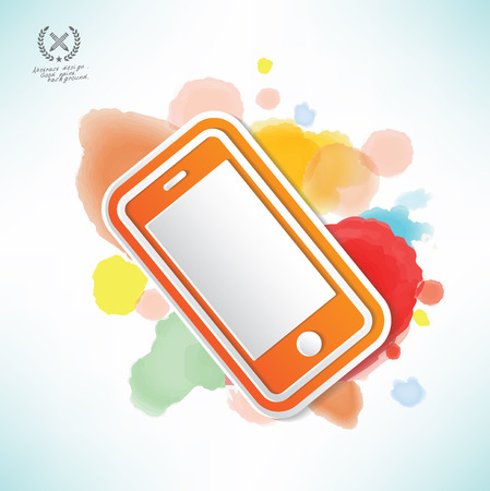 Mobile phone design and water colour design Vector