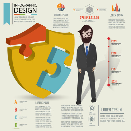 Puzzle info graphic designThree dimension designclean vector Vector