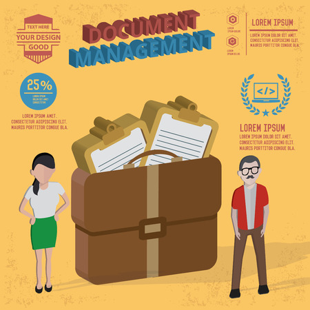 Document management designand character concept Vector