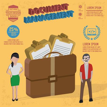 document management: Document management designand karakter-concept Stock Illustratie