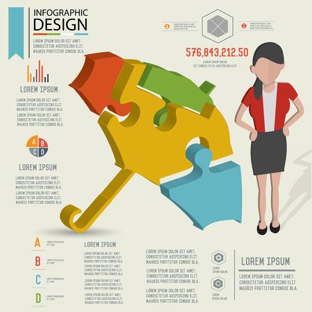 dimension: Puzzle info graphic designThree dimension design