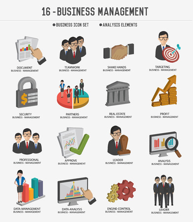 business team: Business management and business marketing icons