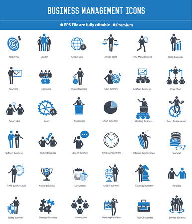 Business management and human resource icon setblue version