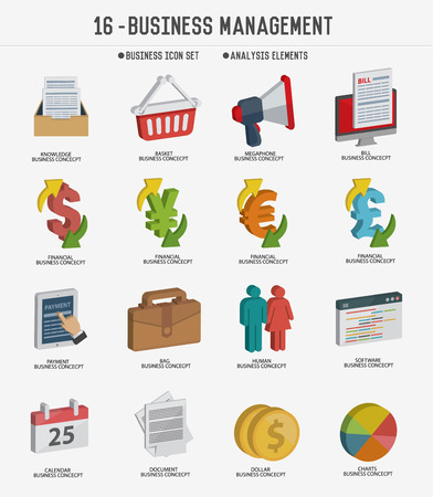 mastercard: Business management icon setclean vector