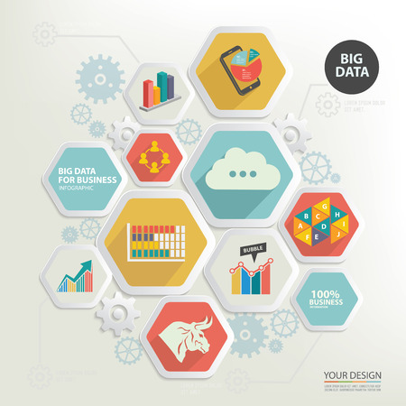 big business: Big data and business marketing designclean vector