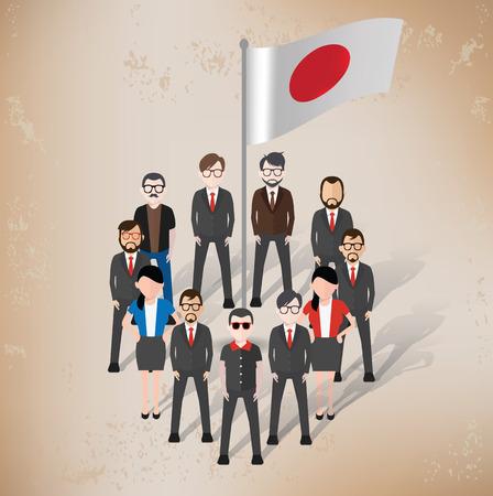 character design: Dise�o de personajes de Jap�n sobre fondo de papel viejo, grunge