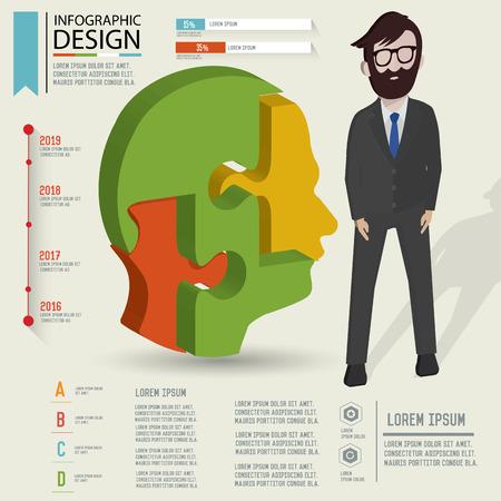 three dimension: Puzzle info graphic design,Three dimension design Illustration