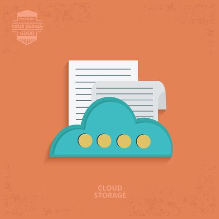 documents circulation: Data cloud design on orange background