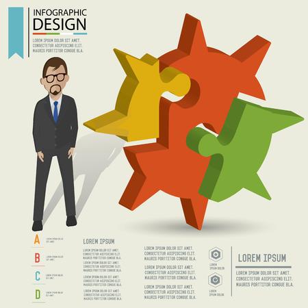 three dimension: Puzzle info graphic design Three dimension design clean   Illustration
