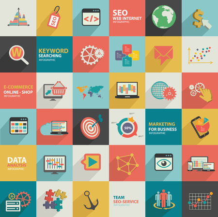 Big data-analyse, business marketing, seo marketing ontwerp, plat ontwerp, schone vector