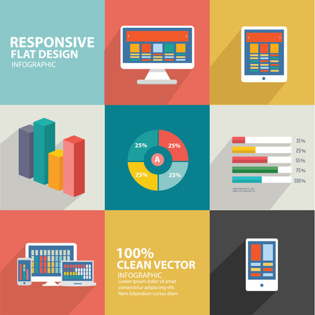 Responsive and computer icons design,flat design,clean vector Illustration