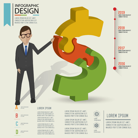 dollar sign: Puzzle info graphic design Three dimension design clean   Illustration