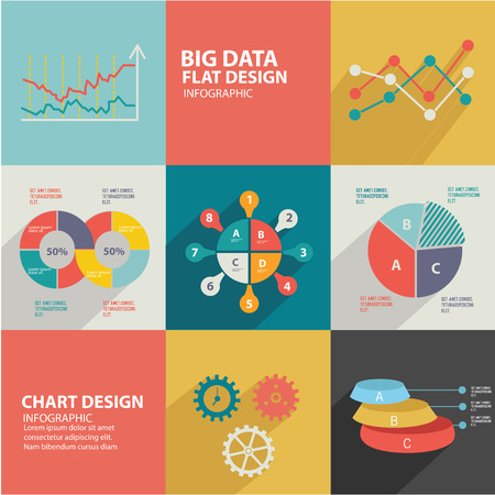 management concept: Data analysis design,flat icons,clean vector Illustration