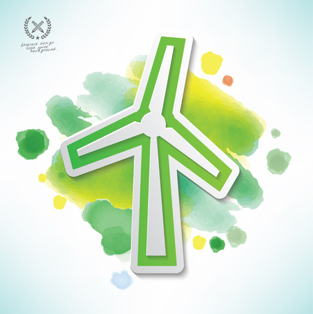 Wind turbine design,water colour design,clean vector Illustration