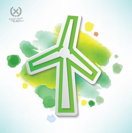 windpower: Wind turbine design,water colour design,clean vector Illustration