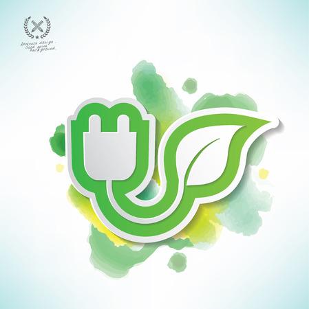 Puissance de la conception de l'écologie, de la conception de la couleur de l'eau, vecteur propre Banque d'images - 38908234