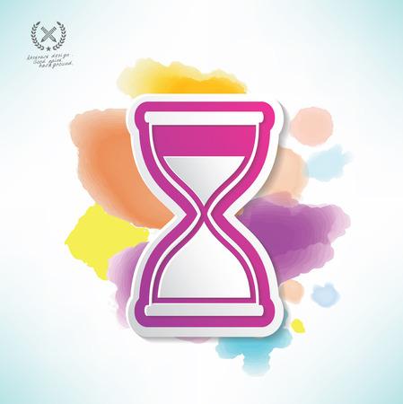 Hourglass design,water colour design,clean vector