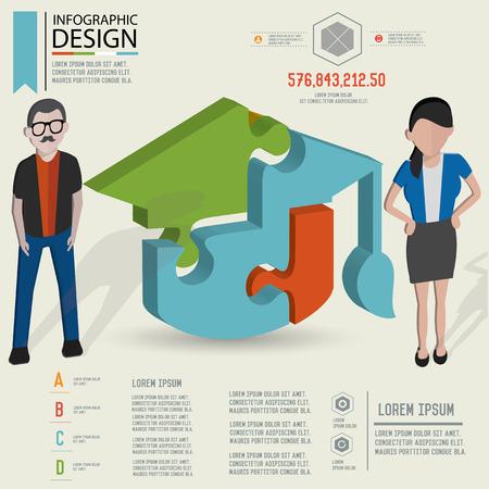 three dimension: Puzzle info graphic design Three dimension design clean