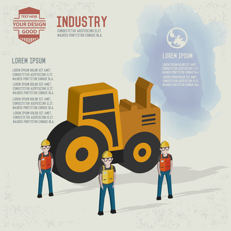Truck,industrial,character design and blank for your text,clean vector
