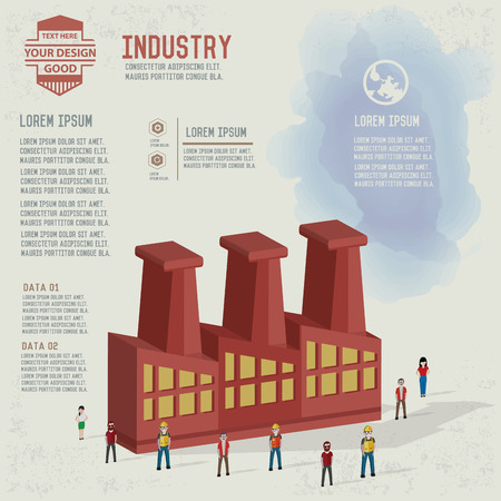 industrial complex: Factory,industrial,character design and blank for your text,clean vector
