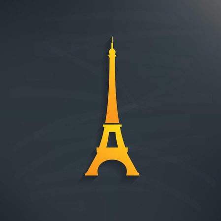 tower: Paris symbol on blackboard background,clean vector