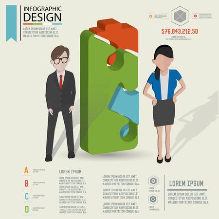 Puzzle info graphic design Illustration