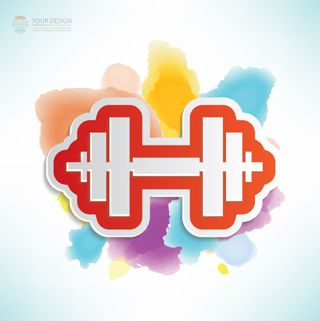 heavy load: Weight lifting design,water colour design,clean vector