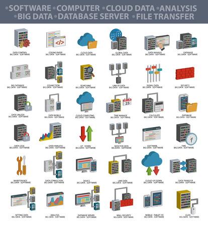 Logiciel, Big data, informatique, le cloud computing, l'analyse, le serveur de base de données, transfert de fichiers, la sécurité des données et de technologie, trois icônes conception de dimension, vecteur propre