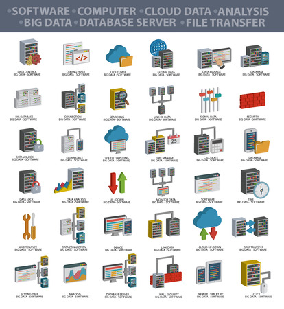 information management: Software,Big data,Computer,Cloud computing,Analysis,Database server,File transfer,Data security and Technology icons,three dimension design,clean vector Illustration