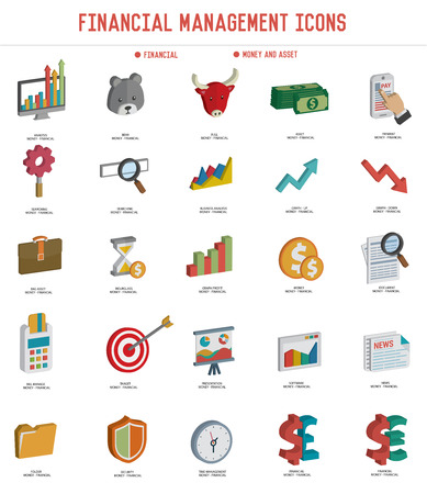 bull pen: Financial icon set on white background,three dimension design,clean vector