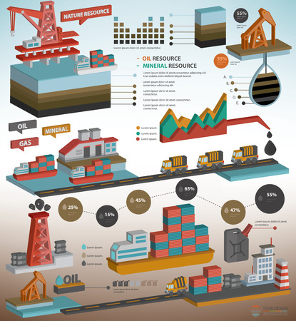 mapa de procesos: Petróleo, la industria del gas, el diseño de recursos minerales para obtener información de diseño gráfico en el fondo blanco, diseño de tres dimensiones, limpio vector Vectores
