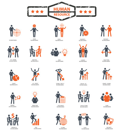 Businessman,Human resource icon set,orange version,clean vector