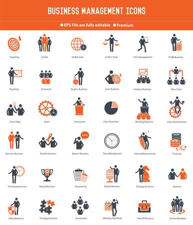 liderazgo empresarial: El hombre de negocios, Human conjunto de iconos de los recursos, la versión naranja, vector limpia
