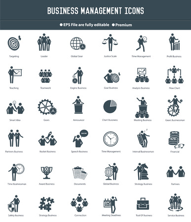 Business management, Human Resources pictogrammen, zwarte versie, duidelijke vector Stock Illustratie