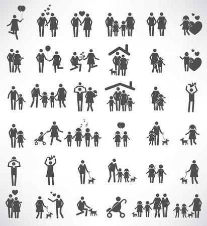 strichmännchen: Familien-Icon-Set, schwarz-Version, saubere Vektor
