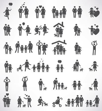 two parent family: Family icon set,black version,clean vector