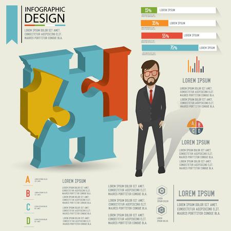 Puzzle info graphic design,Three dimension design,clean vector