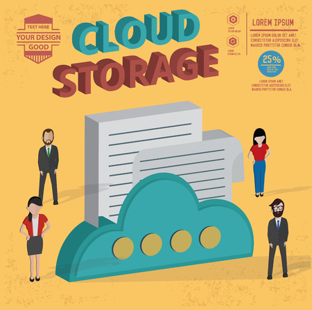 Cloud storage design,and character concept,clean vector Illustration