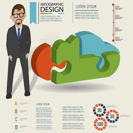Puzzle info graphic design,Three dimension design,clean vector Vector