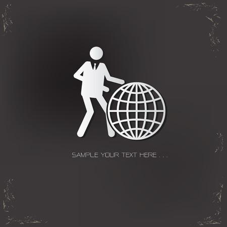 picto: Global, human resource design on old background,vector Illustration
