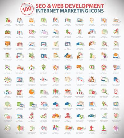 100 SEO and development icon set,Internet marketing icon set,Sticker design,clean vector Vector