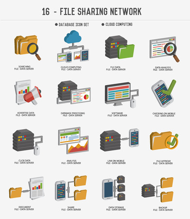computer network: File share and networking icons,clean vector Illustration
