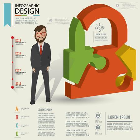 wwwrn: Puzzle info graphic design,Three dimension design,clean vector