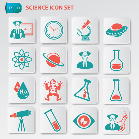 neutrons: Science icon set on clean button,vector